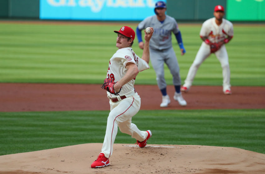Miles Mikolas #39 of the St. Louis Cardinals of the Chicago Cubs pitches in the first inning at Busch Stadium on May 22, 2021 in St Louis, Missouri. (Photo by Dilip Vishwanat/Getty Images)
