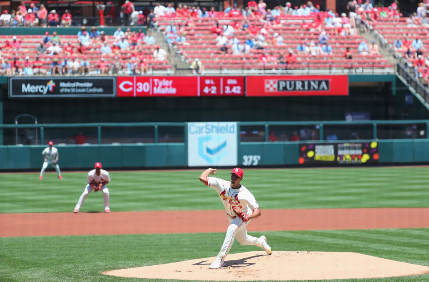 Johan Oviedo #59 of the St. Louis Cardinals delivers a pitch against the Cincinnati Reds in the first inning at Busch Stadium on June 5, 2021 in St Louis, Missouri. (Photo by Dilip Vishwanat/Getty Images)