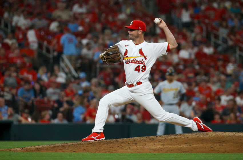 Wade LeBlanc #49 of the St. Louis Cardinals throws during the sixth inning against the Pittsburgh Pirates at Busch Stadium on June 24, 2021 in St. Louis, Missouri. (Photo by Scott Kane/Getty Images)