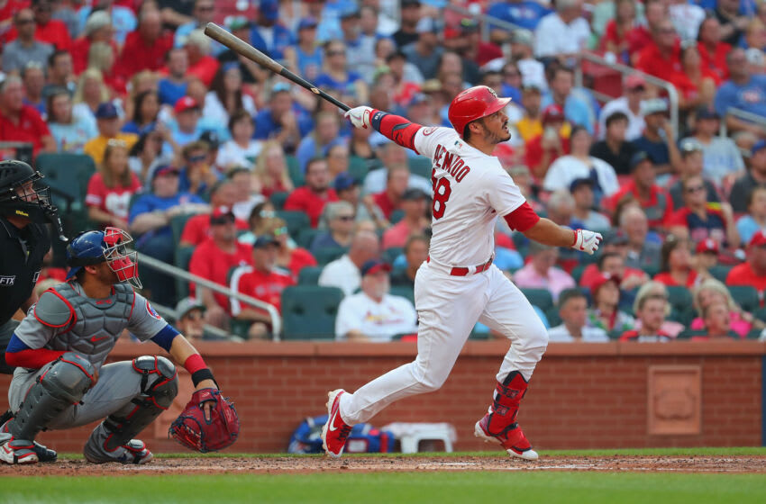 Nolan Arenado #28 of the St. Louis Cardinals hits a two-run home run against the Chicago Cubs in the third inning at Busch Stadium on July 22, 2021 in St Louis, Missouri. (Photo by Dilip Vishwanat/Getty Images)