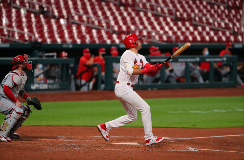 ST LOUIS, MO - AUGUST 20: Dylan Carlson #3 of the St. Louis Cardinals bats against the Cincinnati Reds at Busch Stadium on August 20, 2020 in St Louis, Missouri. (Photo by Dilip Vishwanat/Getty Images)