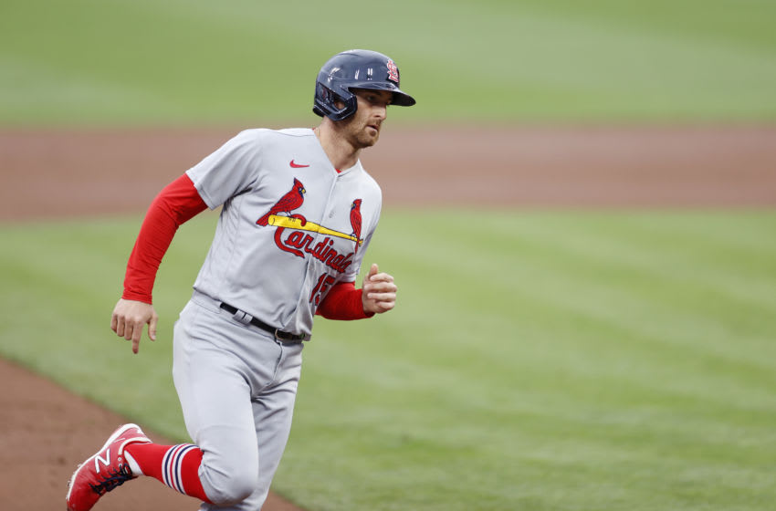 CINCINNATI, OH - SEPTEMBER 02: Brad Miller #15 of the St Louis Cardinals rounds the bases after a solo home run to centerfield in the second inning against the Cincinnati Reds at Great American Ball Park on September 2, 2020 in Cincinnati, Ohio. (Photo by Joe Robbins/Getty Images)