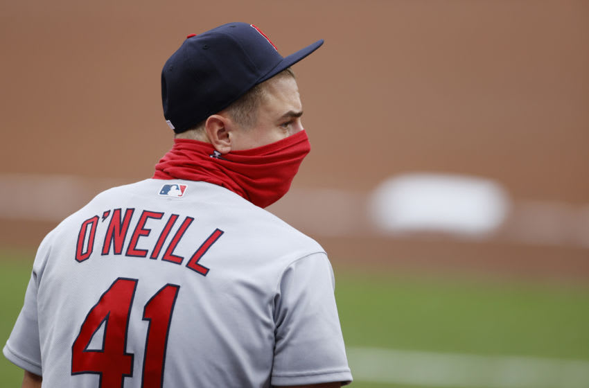 CINCINNATI, OH - AUGUST 31: Tyler O'Neill #41 of the St Louis Cardinals looks on while wearing a facemask prior to a game against the Cincinnati Reds at Great American Ball Park on August 31, 2020 in Cincinnati, Ohio. The Cardinals defeated the Reds 7-5. (Photo by Joe Robbins/Getty Images)