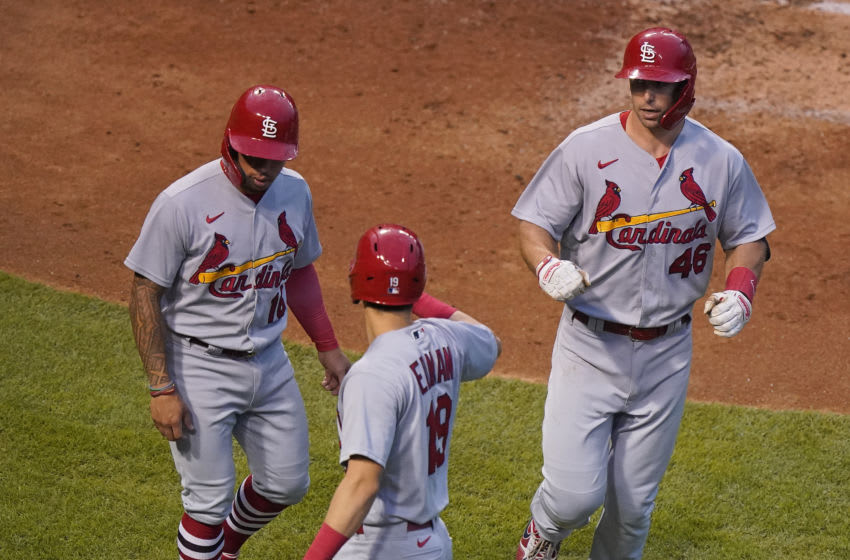 CHICAGO, ILLINOIS - SEPTEMBER 06: Paul Goldschmidt #46 of the St. Louis Cardinals celebrates with Kolten Wong #16 and Tommy Edman #19 following his three run home run during the third inning of a game against the Chicago Cubs at Wrigley Field on September 06, 2020 in Chicago, Illinois. (Photo by Nuccio DiNuzzo/Getty Images)