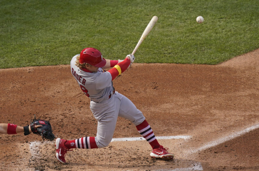 Harrison Bader #48 of the St. Louis Cardinals hits a double during the third inning of a game against the Chicago Cubs at Wrigley Field on September 07, 2020 in Chicago, Illinois. (Photo by Nuccio DiNuzzo/Getty Images)