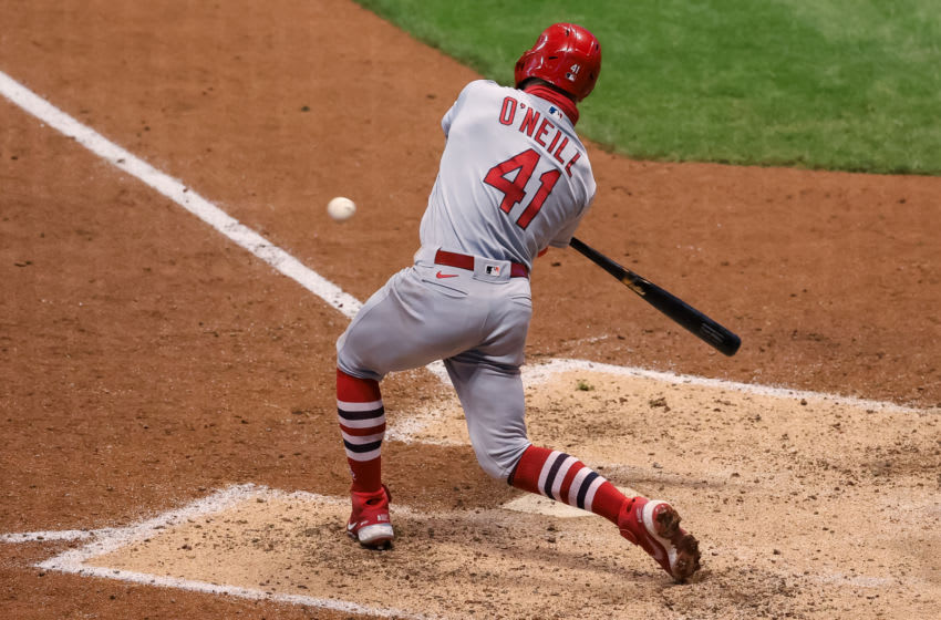 MILWAUKEE, WISCONSIN - SEPTEMBER 14: Tyler O'Neill #41 of the St. Louis Cardinals hits a single in the fifth inning against the Milwaukee Brewers during game two of a doubleheader at Miller Park on September 14, 2020 in Milwaukee, Wisconsin. (Photo by Dylan Buell/Getty Images)