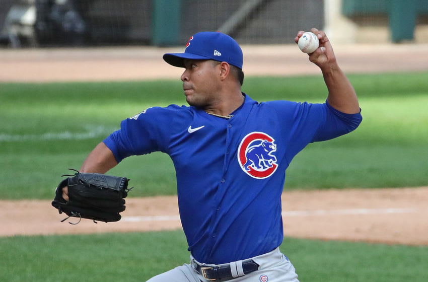 CHICAGO, ILLINOIS - SEPTEMBER 27: Jose Quintana #62 of the Chicago Cubs pitches against the Chicago White Sox at Guaranteed Rate Field on September 27, 2020 in Chicago, Illinois. (Photo by Jonathan Daniel/Getty Images)