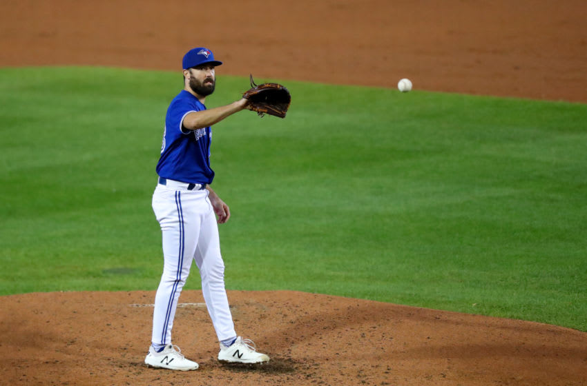 BUFFALO, NY - SEPTEMBER 23: Robbie Ray #38 of the Toronto Blue Jays against the New York Yankees at Sahlen Field on September 23, 2020 in Buffalo, New York. The Blue Jays are the home team due to the Canadian government