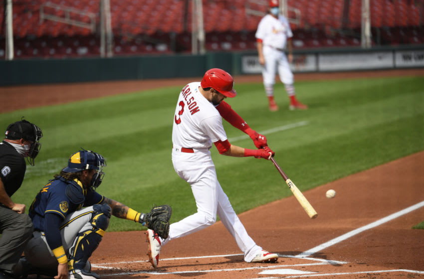 Dylan Carlson #3 of the St. Louis Cardinals swings at a pitch during a game against the Milwaukee Brewers on September 27, 2020 at Busch Stadium in St. Louis, Missouri. (Photo by St. Louis Cardinals, LLC/Getty Images)