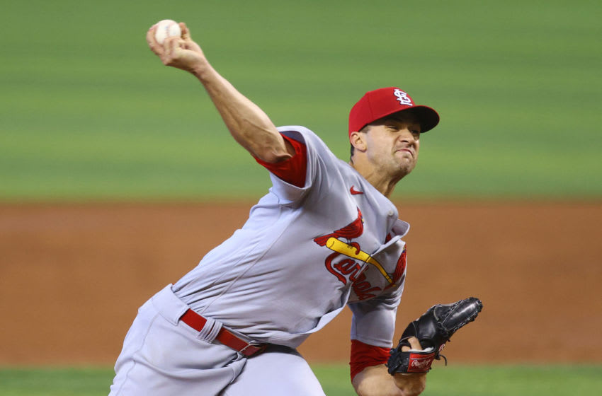 Jack Flaherty #22 of the St. Louis Cardinals delivers a pitch in the fifth inning against the Miami Marlins at loanDepot park on April 07, 2021 in Miami, Florida. (Photo by Mark Brown/Getty Images)