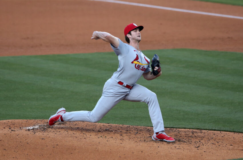 LOS ANGELES, CA - JUNE 2: Jake Woodford #40 of the St. Louis Cardinals pitches during the game against the Los Angeles Dodgers at Dodger Stadium on June 2, 2021 in Los Angeles, California. The Dodgers defeated the Cardinals 14-3. (Photo by Rob Leiter/MLB Photos via Getty Images)