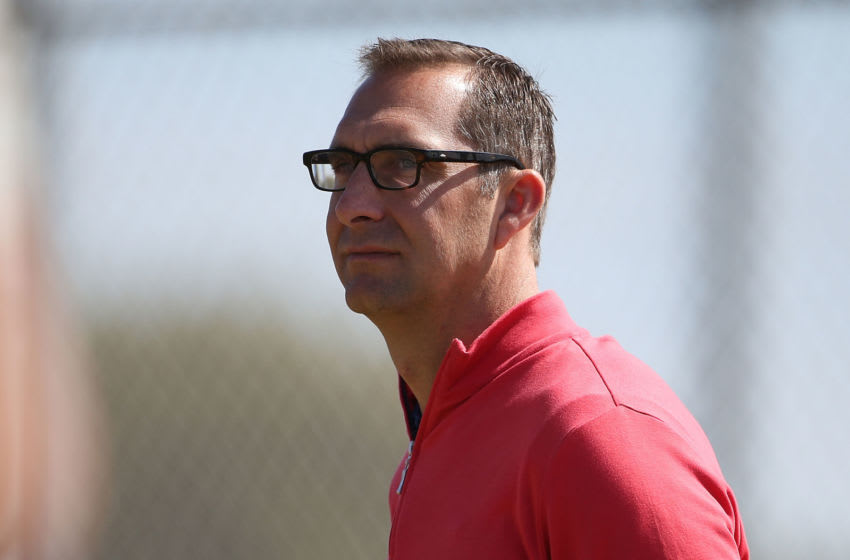 JUPITER, FL - FEBRUARY 20: St. Louis Cardinals Sr. Vice President and General Manager John Mozeliak watches the action during spring training on February 20, 2013 in Jupiter, Florida. (Photo by Leon Halip/Getty Images)