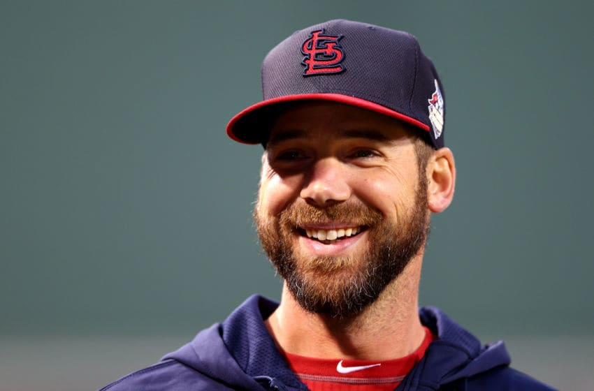 BOSTON, MA - OCTOBER 23: Chris Carpenter of the St. Louis Cardinals looks on during batting practice before Game One of the World Series against the Boston Red Sox at Fenway Park on October 23, 2013 in Boston, Massachusetts. (Photo by Elsa/Getty Images)