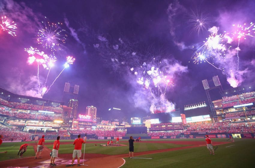 ST. LOUIS, MO - JULY 4: Fireworks, to celebrate Independence Day, are shot off after a game between the St. Louis Cardinals and the Miami Marlins at Busch Stadium on July 4, 2014 in St. Louis, Missouri. The Cardinals beat the Marlins 3-2. (Photo by Dilip Vishwanat/Getty Images)