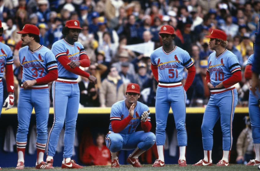 MILWAUKEE - OCTOBER 1982: St. Louis Cardinals players (l-r) Keith Hernandez #37, George Hendrick #25, Darrell Porter #15, Willie McGee #51 and Ken Oberkfell #10 are introduced before a World Series game against the Milwaukee Brewers at County Stadium in October 1982 in Milwaukee, Wisconsin. (Photo by Focus on Sport via Getty Images)