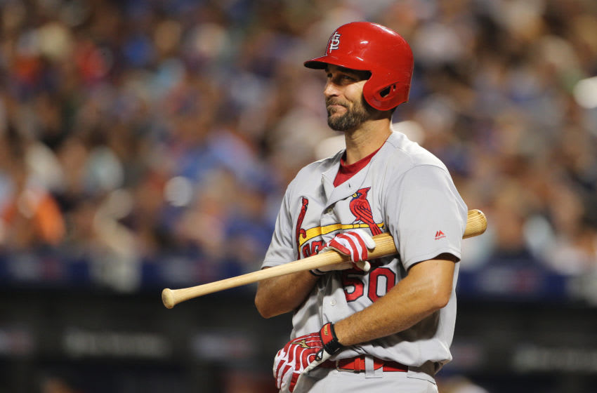 NEW YORK, NEW YORK - July 27: Pitcher Adam Wainwright #50 of the St. Louis Cardinals batting during the St. Louis Cardinals Vs New York Mets regular season MLB game at Citi Field on July 27, 2016 in New York City. (Photo by Tim Clayton/Corbis via Getty Images)