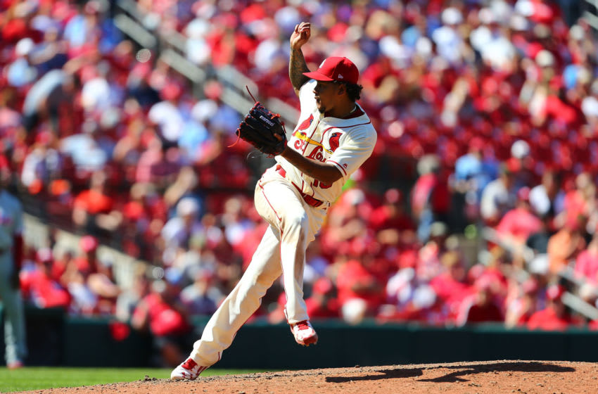 ST. LOUIS, MO - JUNE 10: Starter Carlos Martinez #18 of the St. Louis Cardinals delivers a pitch against the Philadelphia Phillies in the ninth inning at Busch Stadium on June 10, 2017 in St. Louis, Missouri. (Photo by Dilip Vishwanat/Getty Images)