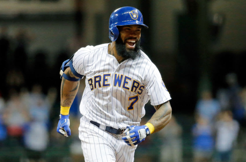 MILWAUKEE, WI - JUNE 16: Eric Thames #7 of the Milwaukee Brewers celebrates after hitting a walkoff home run against the San Diego Padres during the tenth inning at Miller Park on June 16, 2017 in Milwaukee, Wisconsin. The Milwaukee Brewers won 6-5 in ten innings. (Photo by Jon Durr/Getty Images)