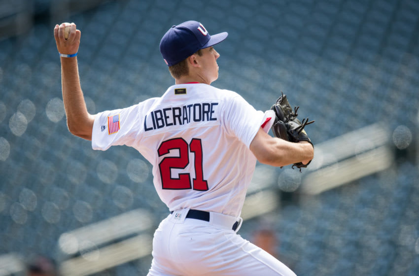 Matthew Liberatore #21 of the USA Baseball 18U National Team pitches against Iowa Western CC on August 27, 2017 at Target Field in Minneapolis, Minnesota. (Photo by Brace Hemmelgarn/Getty Images)