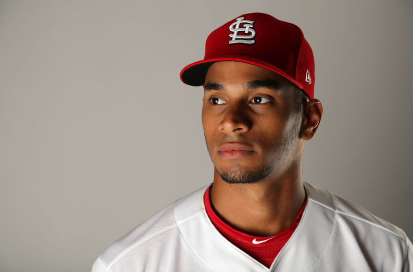 JUPITER, FL - FEBRUARY 20: Oscar Mercado #74 of the St. Louis Cardinals poses for a portrait at Roger Dean Stadium on February 20, 2018 in Jupiter, Florida. (Photo by Streeter Lecka/Getty Images)