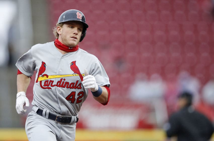 CINCINNATI, OH - APRIL 15: Harrison Bader #48 of the St. Louis Cardinals rounds the bases after hitting a two-run home run in the second inning of the game against the Cincinnati Reds at Great American Ball Park on April 15, 2018 in Cincinnati, Ohio. All players are wearing #42 in honor of Jackie Robinson Day. (Photo by Joe Robbins/Getty Images)