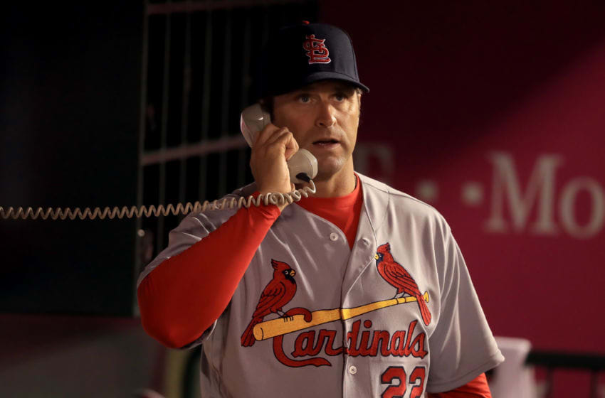 ANAHEIM, CA - MAY 12: Manager Mike Matheny of the St. Louis Cardinals makes a call on the bullpen phone during the seventh inning of a baseball game between the Los Angeles Angels of Anaheim and the St. Louis Cardinals at Angel Stadium of Anaheim on May 12, 2016 in Anaheim, California. (Photo by Sean M. Haffey/Getty Images)