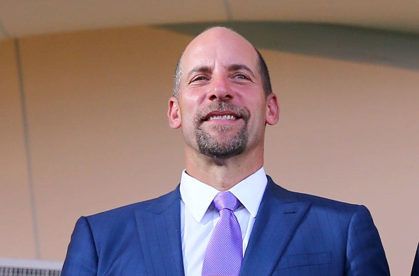 COOPERSTOWN, NY - JULY 26: John Smoltz poses with his plaque during the Hall of Fame Induction Ceremony at National Baseball Hall of Fame on July 26, 2015 in Cooperstown, New York. (Photo by Elsa/Getty Images)