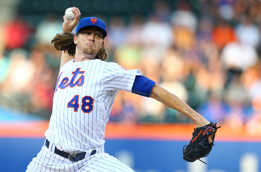 NEW YORK, NEW YORK - JULY 19: Jacob deGrom #48 of the New York Mets pitches in the first inning against the St. Louis Cardinals at Citi Field on July 19, 2017 in the Flushing neighborhood of the Queens borough of New York City. (Photo by Mike Stobe/Getty Images)