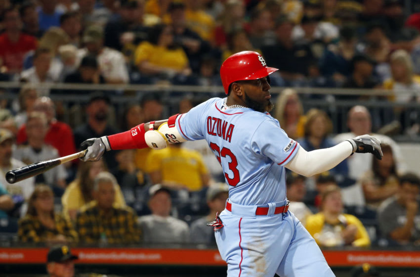Marcell Ozuna #23 of the St. Louis Cardinals hits a three run home run in the third inning against the Pittsburgh Pirates at PNC Park on September 7, 2019 in Pittsburgh, Pennsylvania. (Photo by Justin K. Aller/Getty Images)
