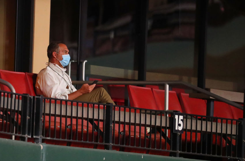 John Mozeliak, President of Baseball Operations for the St. Louis Cardinals, watches a game against the Kansas City Royals at Busch Stadium on August 24, 2020 in St Louis, Missouri. (Photo by Dilip Vishwanat/Getty Images)