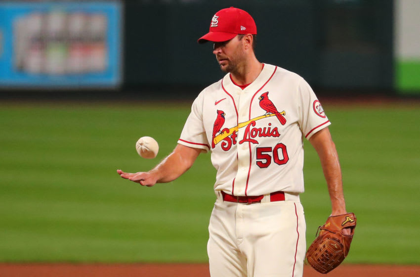 Adam Wainwright #50 of the St. Louis Cardinals uses his rosin bag after giving up back-to-back home runs against the Milwaukee Brewers in the fourth inning at Busch Stadium on September 26, 2020 in St Louis, Missouri. (Photo by Dilip Vishwanat/Getty Images)