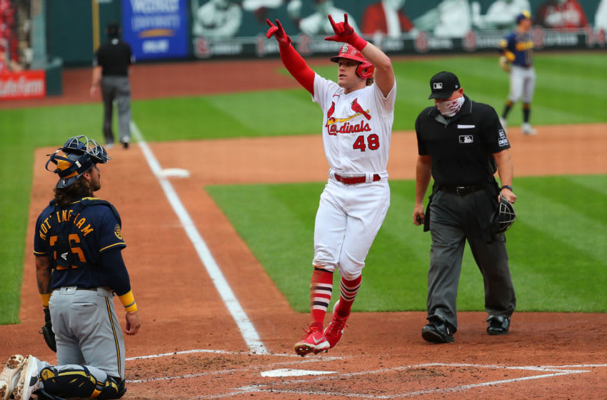 ST LOUIS, MO - SEPTEMBER 27: Harrison Bader #48 of the St. Louis Cardinals celebrates after hitting a home run against the Milwaukee Brewers in the fourth inning at Busch Stadium on September 27, 2020 in St Louis, Missouri. (Photo by Dilip Vishwanat/Getty Images)