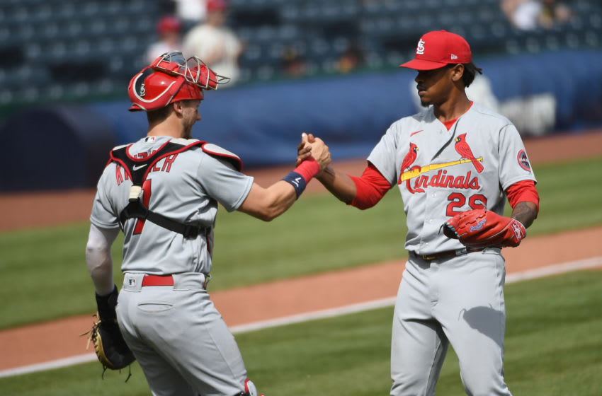 PITTSBURGH, PA - MAY 02: Alex Reyes #29 of the St. Louis Cardinals celebrates with Andrew Knizner #7 after the final out in a 3-0 win over the Pittsburgh Pirates during the game at PNC Park on May 2, 2021 in Pittsburgh, Pennsylvania. (Photo by Justin Berl/Getty Images)