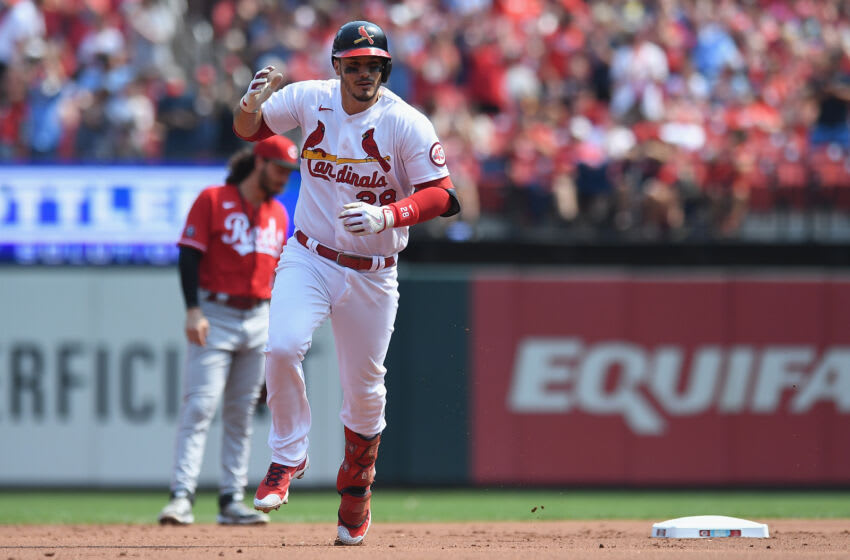 ST LOUIS, MO - SEPTEMBER 12: Nolan Arenado #28 of the St. Louis Cardinals rounds the bases after hitting a two run homerun in the first inning against the Cincinnati Reds at Busch Stadium on September 12, 2021 in St Louis, Missouri. (Photo by Michael B. Thomas/Getty Images)