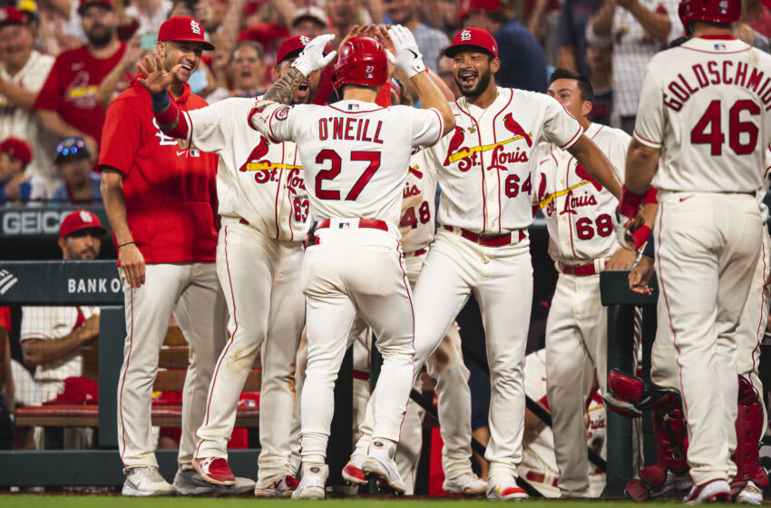 Tyler O'Neill #27 of the St. Louis Cardinals celebrates after hitting a home run in the eighth inning against the San Diego Padres at Busch Stadium on September 18, 2021 in St. Louis, Missouri. (Photo by Matt Thomas/San Diego Padres/Getty Images)
