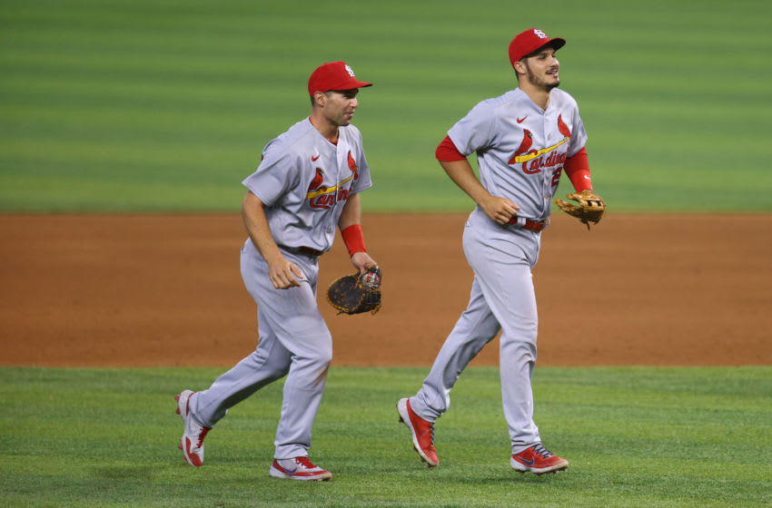 MIAMI, FLORIDA - APRIL 07: Paul Goldschmidt #46 and Nolan Arenado #28 of the St. Louis Cardinals celebrate after defeating the Miami Marlins at loanDepot park on April 07, 2021 in Miami, Florida. (Photo by Mark Brown/Getty Images)