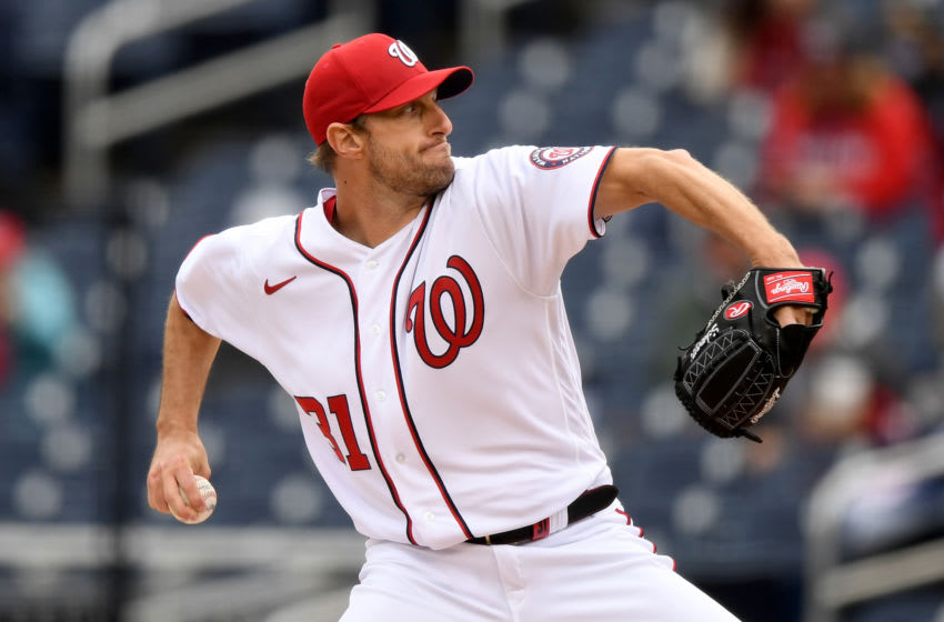 Max Scherzer #31 of the Washington Nationals pitches against the Milwaukee Brewers at Nationals Park on May 30, 2021 in Washington, DC. (Photo by Will Newton/Getty Images)