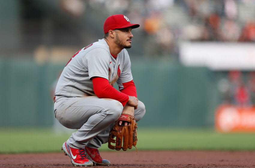 Nolan Arenado #28 of the St. Louis Cardinals looks on from third base against the San Francisco Giants at Oracle Park on July 07, 2021 in San Francisco, California. (Photo by Lachlan Cunningham/Getty Images)
