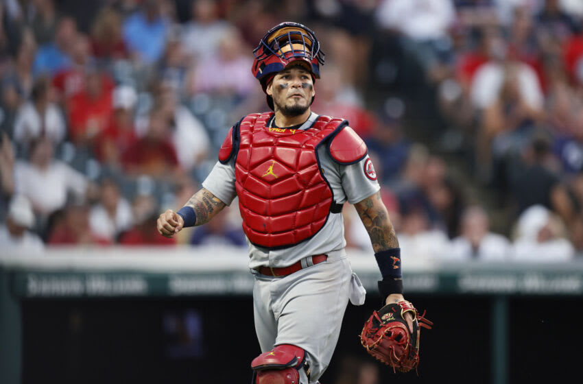 Yadier Molina #4 of the St. Louis Cardinals walks to the dugout against the Cleveland Indians during the fifth inning at Progressive Field on July 27, 2021 in Cleveland, Ohio. (Photo by Ron Schwane/Getty Images)