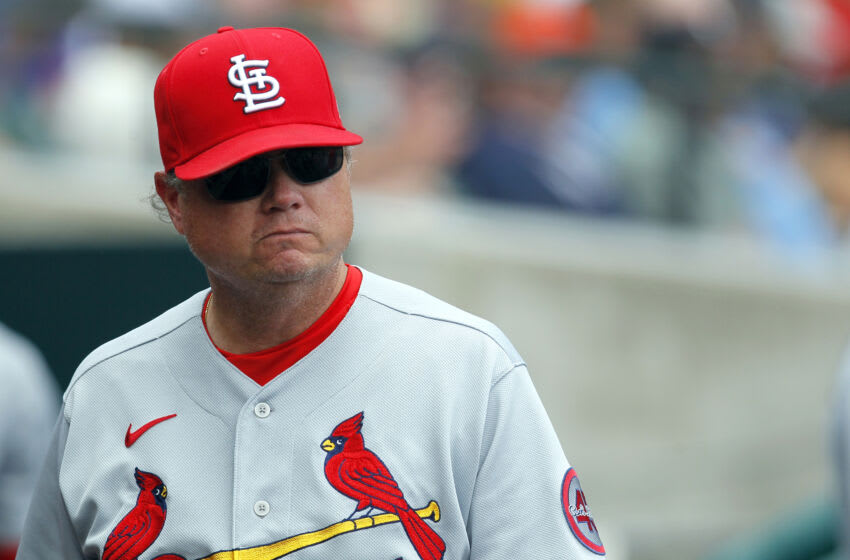 Mike Shildt #8 of the St. Louis Cardinals during a game against the Detroit Tigers at Comerica Park on June 23, 2021, in Detroit, Michigan. (Photo by Duane Burleson/Getty Images)