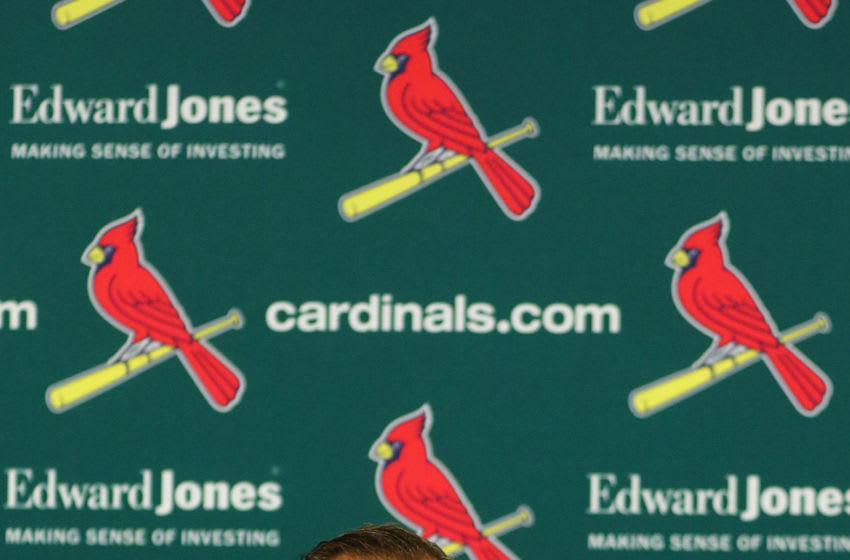 ST. LOUIS, MO - JULY 15: John Mozeliak, President of Baseball Operations of the St. Louis Cardinals during a press conference addressing a change in the manager prior to a game between the St. Louis Cardinals and the Cincinnati Reds at Busch Stadium on July 15, 2018 in St. Louis, Missouri. (Photo by Dilip Vishwanat/Getty Images)