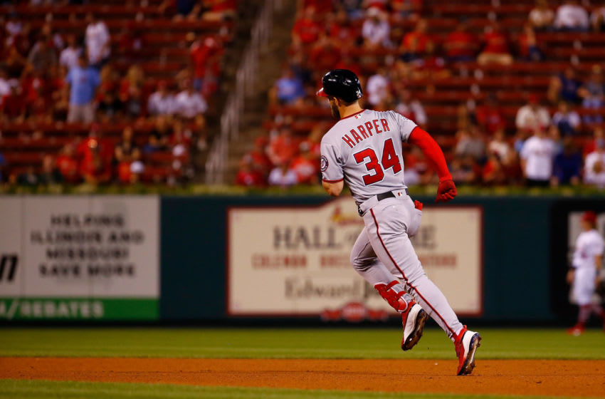 ST. LOUIS, MO - AUGUST 14: Bryce Harper #34 of the Washington Nationals rounds the bases after hitting a two-run home run against the St. Louis Cardinals eighth inning at Busch Stadium on August 14, 2018 in St. Louis, Missouri. (Photo by Dilip Vishwanat/Getty Images)