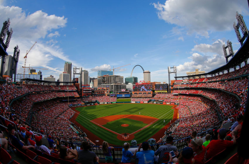 ST LOUIS, MO - MAY 26: An general view of Busch Stadium during a game between the St. Louis Cardinals and the Atlanta Braves on May 26, 2019 in St Louis, Missouri. (Photo by Dilip Vishwanat/Getty Images)