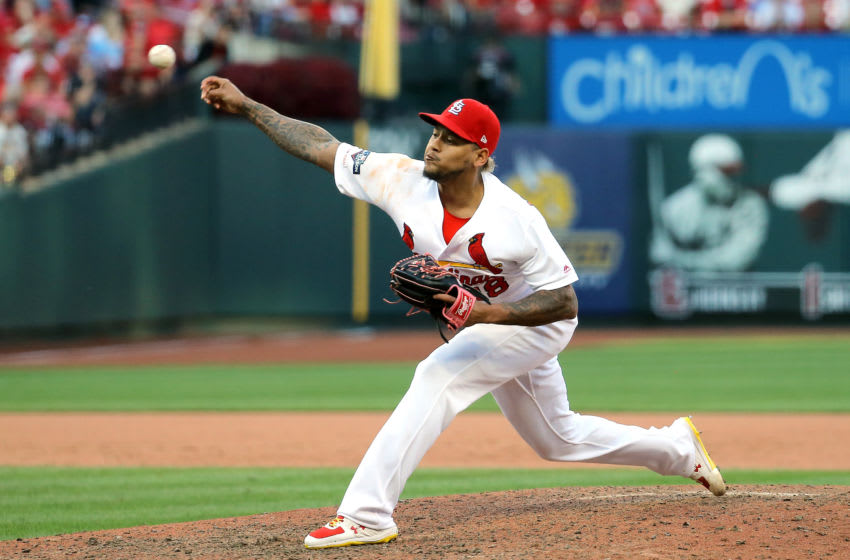 ST LOUIS, MISSOURI - OCTOBER 07: Carlos Martinez #18 of the St. Louis Cardinals delivers the pitch against the Atlanta Braves during the ninth inning in game four of the National League Division Series at Busch Stadium on October 07, 2019 in St Louis, Missouri. (Photo by Scott Kane/Getty Images)