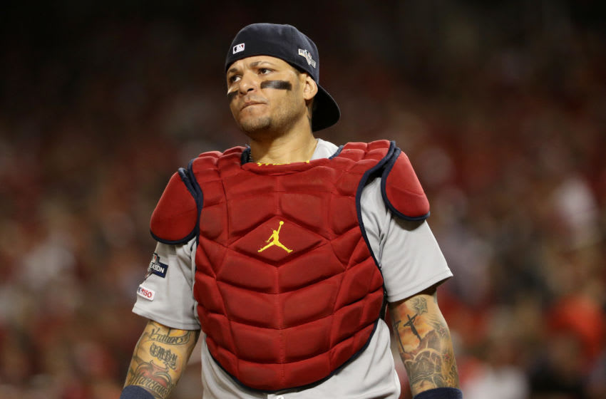 WASHINGTON, DC - OCTOBER 14: Yadier Molina #4 of the St. Louis Cardinals looks on in the third inning of game three of the National League Championship Series against the Washington Nationals at Nationals Park on October 14, 2019 in Washington, DC. (Photo by Patrick Smith/Getty Images)