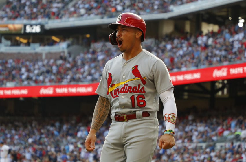 ATLANTA, GEORGIA - OCTOBER 09: Kolten Wong #16 of the St. Louis Cardinals celebrates after scoring a run on a wild pitch against the Atlanta Braves during the first inning in game five of the National League Division Series at SunTrust Park on October 09, 2019 in Atlanta, Georgia. (Photo by Kevin C. Cox/Getty Images)