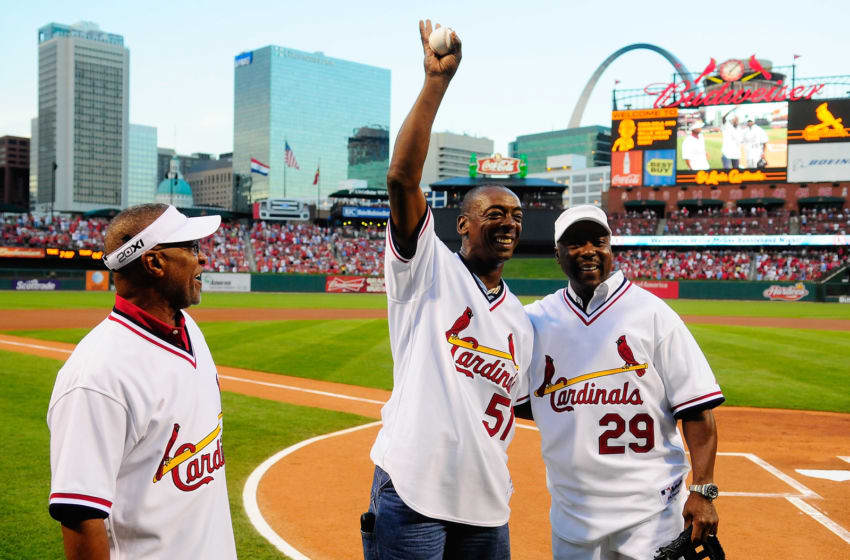 ST. LOUIS, MO - AUGUST 26: Former St. Louis Cardinals Willie McGee #51 Vince Coleman #29 and Ozzie Smith #1 wave to the fans before a game against the Pittsburgh Pirates at Busch Stadium on August 26, 2011 in St. Louis, Missouri. (Photo by Jeff Curry/Getty Images)