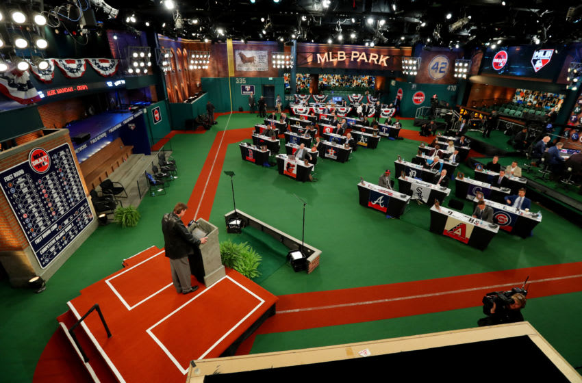 SECAUCUS, NJ - JUNE 03: A general view of the draft floor during the 2019 Major League Baseball Draft at Studio 42 at the MLB Network on Monday, June 3, 2019 in Secaucus, New Jersey. (Photo by Alex Trautwig/MLB via Getty Images)