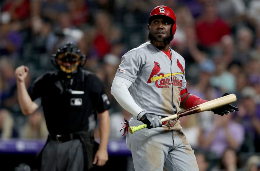 DENVER, COLORADO - SEPTEMBER 10: Marcell Ozuna #23 of the St Louis Cardinals strikes out in the eighth inning against the Colorado Rockies at Coors Field on September 10, 2019 in Denver, Colorado. (Photo by Matthew Stockman/Getty Images)