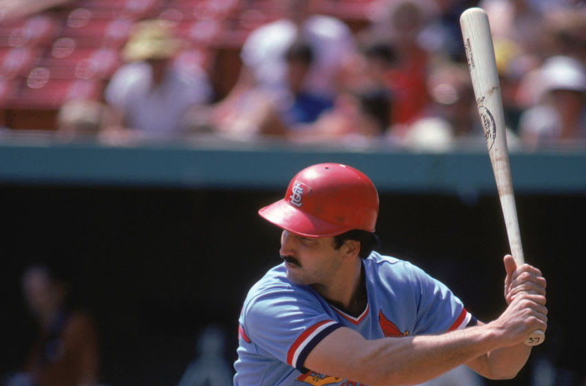 1982: Keith Hernandez #37 of the St. Louis Cardinals at bat during a 1982 season game. (Photo by Rich Pilling/MLB Photos via Getty Images)